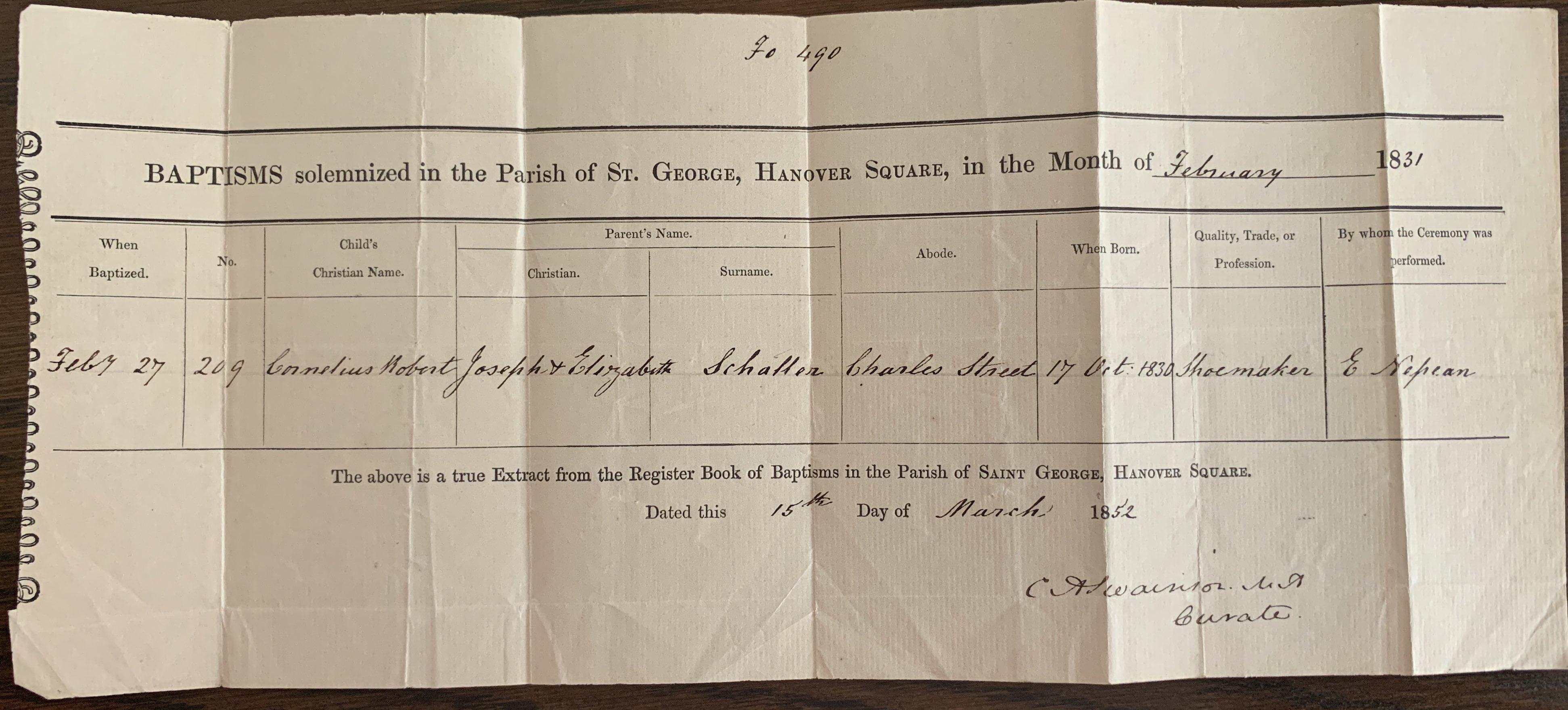 CR Schaller baptism certificate 1831.