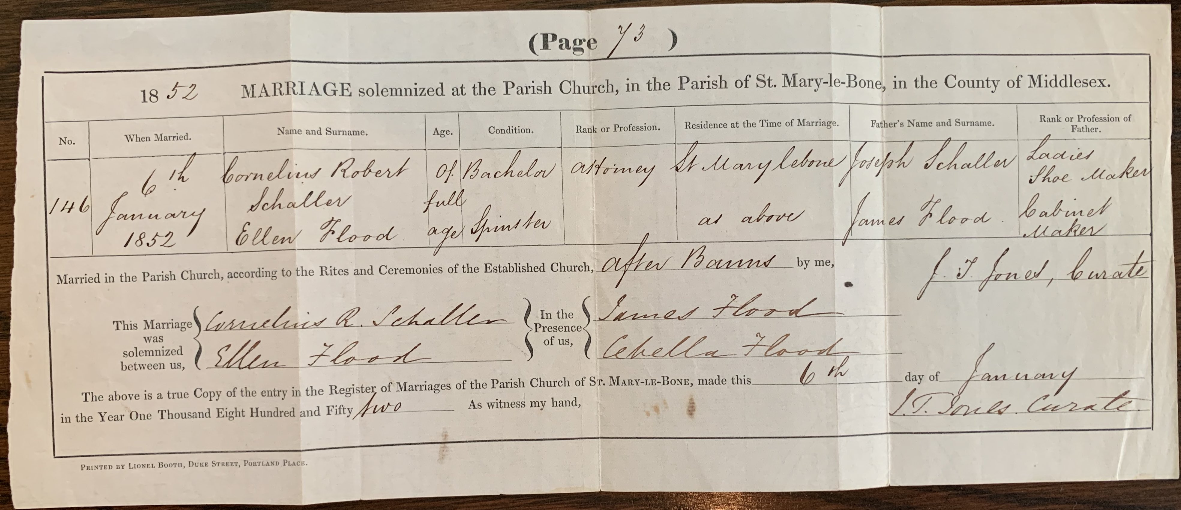 Schaller-Flood marriage certificate