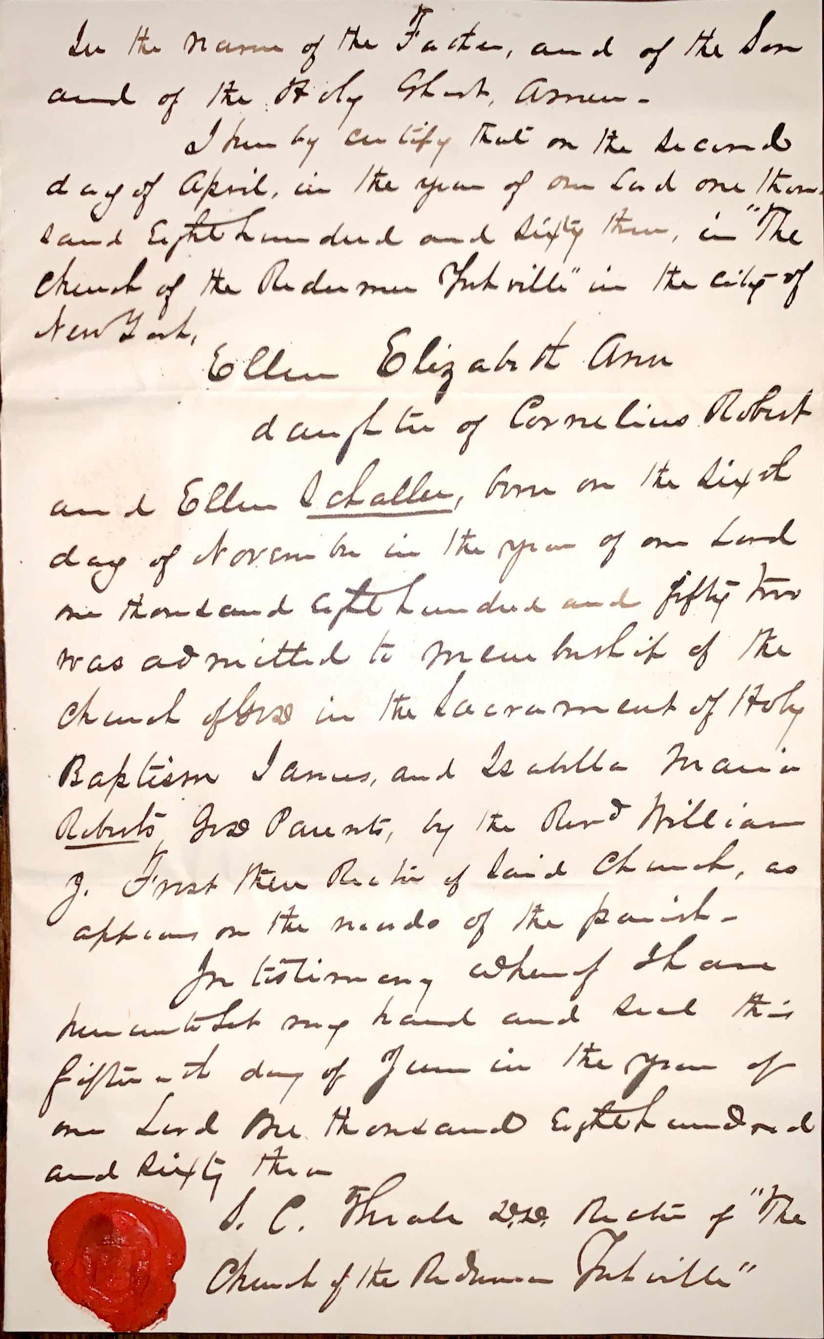 1863 certification of baptism of Ellen Elizabeth Schaller.