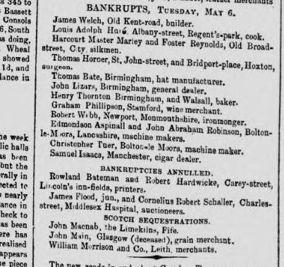 Flood-Schaller bankrupcy annulment 1856.