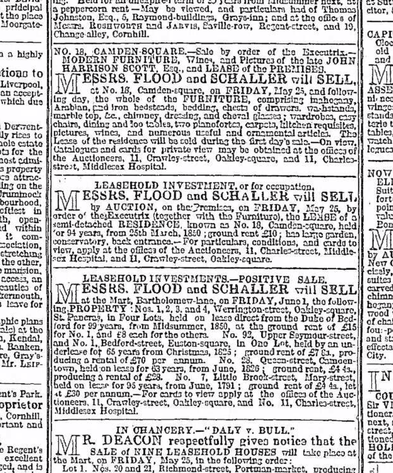 Flood-Schaller adverts 1855